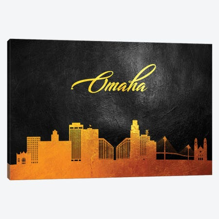 Omaha Nebraska Gold Skyline Canvas Print #ABV95} by Adrian Baldovino Canvas Wall Art