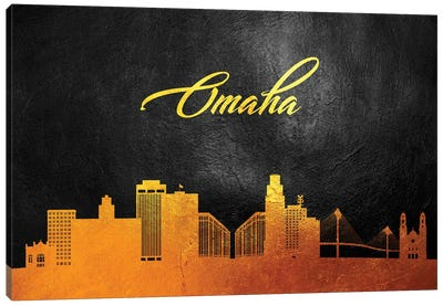 Omaha Nebraska Gold Skyline Canvas Art Print