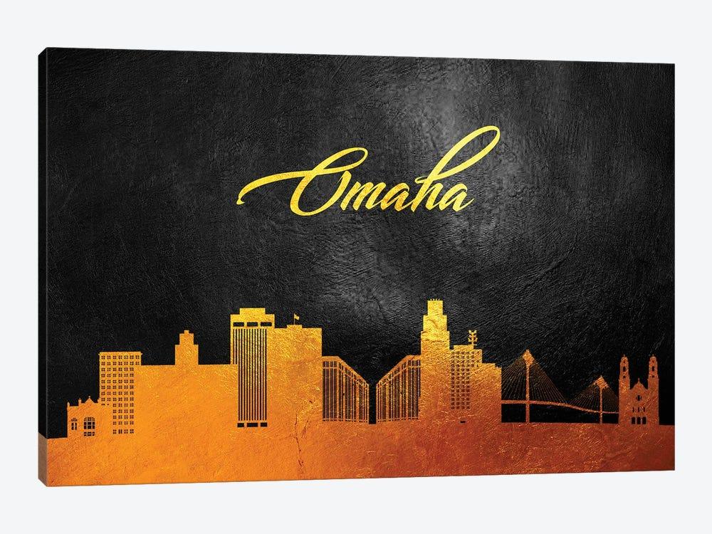 Omaha Nebraska Gold Skyline by Adrian Baldovino 1-piece Art Print