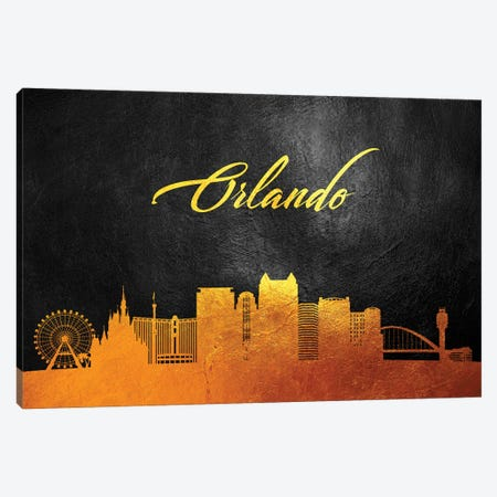 Orlando Florida Gold Skyline Canvas Print #ABV96} by Adrian Baldovino Canvas Wall Art