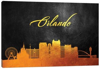 Orlando Florida Gold Skyline Canvas Art Print