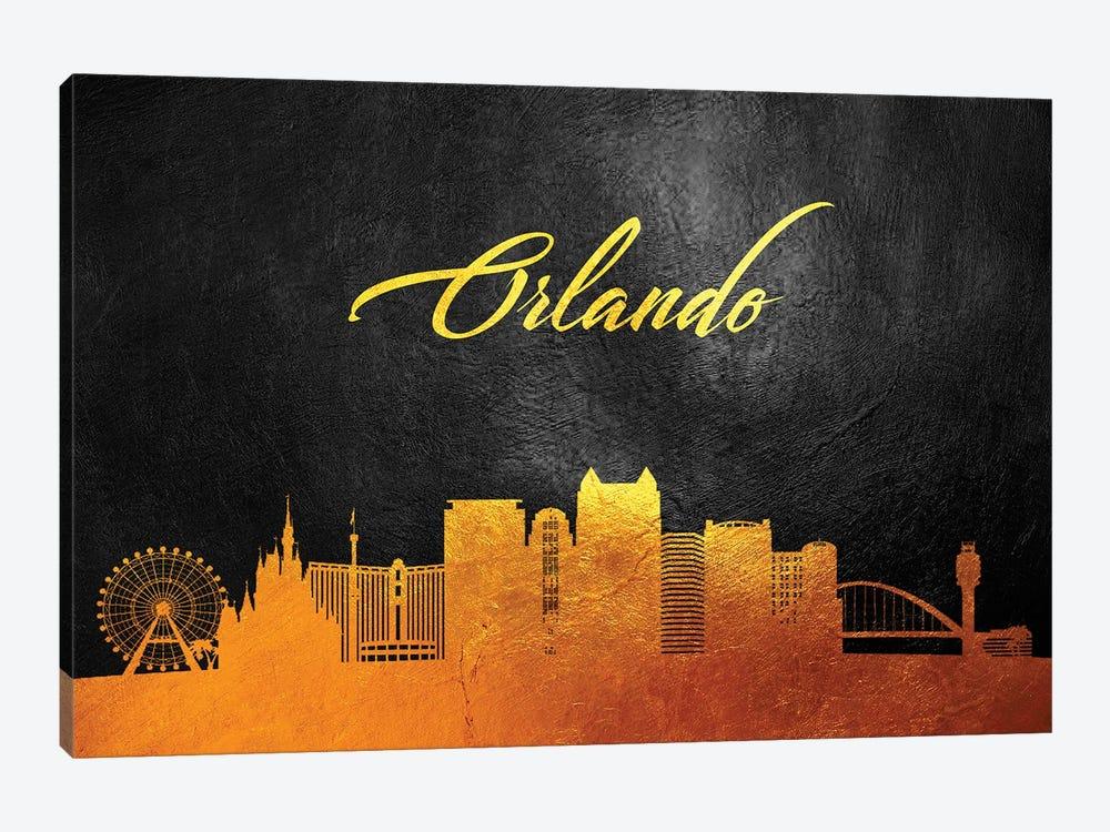 Orlando Florida Gold Skyline by Adrian Baldovino 1-piece Canvas Artwork