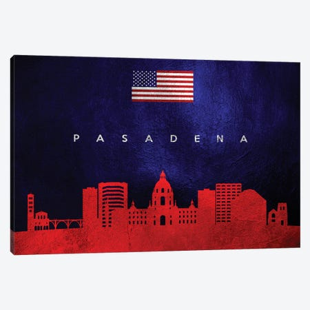 Pasadena California Skyline Canvas Print #ABV97} by Adrian Baldovino Canvas Artwork