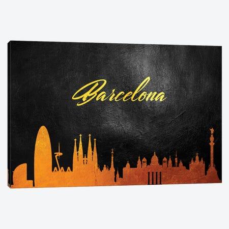 Barcelona Spain Gold Skyline Canvas Print #ABV9} by Adrian Baldovino Canvas Art Print