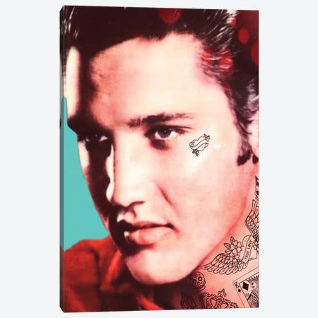 Elvis Tattooed Canvas Print #ABW23} by Andrew M Barlow Art Print