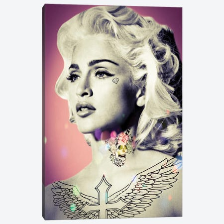 Madonna Tattooed Canvas Print #ABW27} by Andrew M Barlow Canvas Artwork