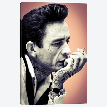 Johnny Cash Tattooed Canvas Print #ABW32} by Andrew M Barlow Canvas Artwork