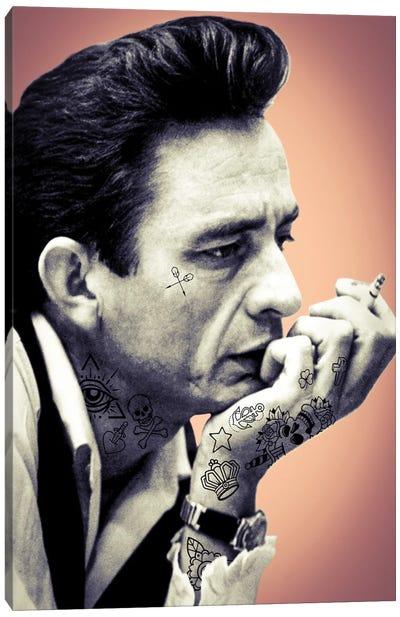 Johnny Cash Tattooed Canvas Art Print