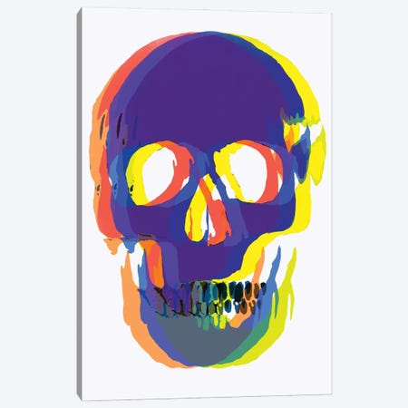 Blurred Blue Skull Canvas Print #ABW58} by Andrew M Barlow Canvas Wall Art