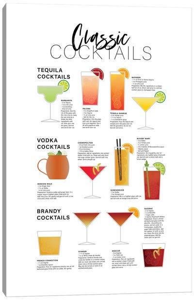 Classic Cocktails - Tequila Brandy Vodka Canvas Art Print