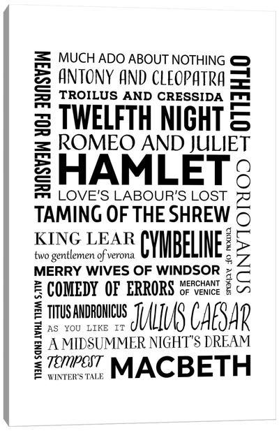 Shakespeare - All Plays Canvas Art Print