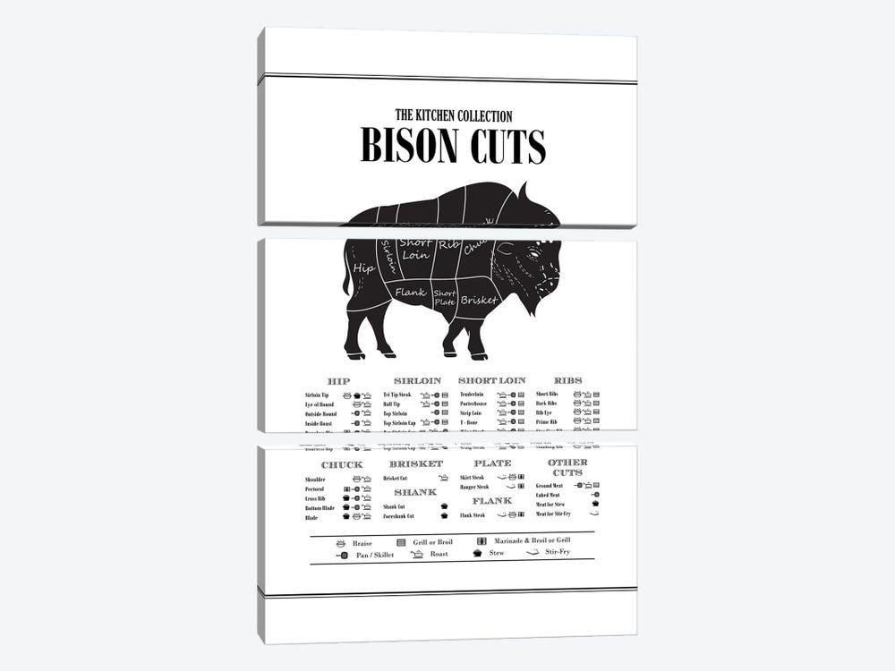 Bison Cuts by Alchera Design Posters 3-piece Canvas Print