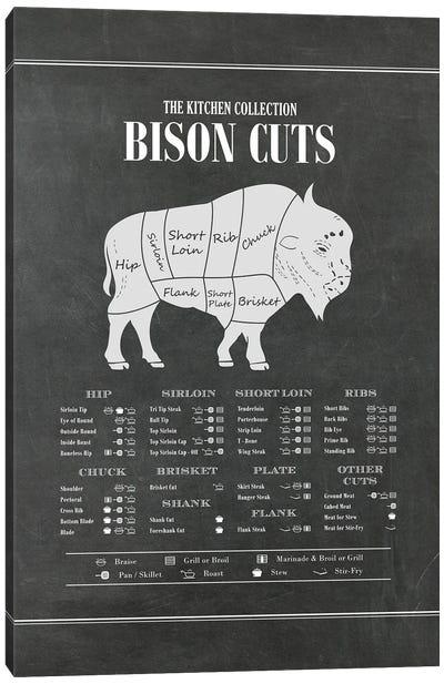 Bison Cuts - Chalk Canvas Art Print