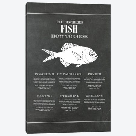 Fish | How To Cook - Chalk Canvas Print #ACE79} by Alchera Design Posters Art Print