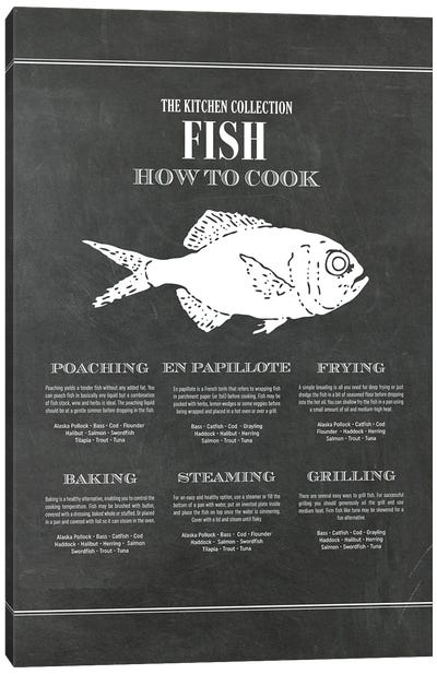 Fish | How To Cook - Chalk Canvas Art Print