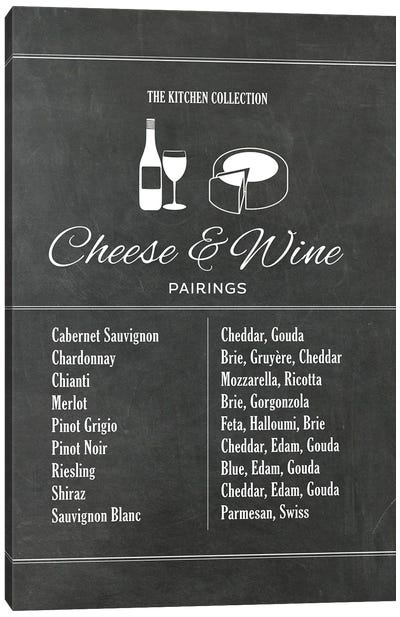 Cheese And Wine Pairings - Chalk Canvas Art Print