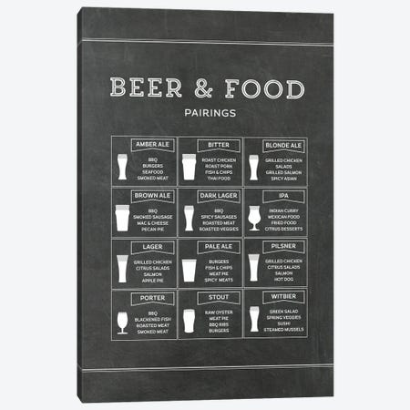 Beer And Food Pairings - Chalk Canvas Print #ACE96} by Alchera Design Posters Canvas Artwork