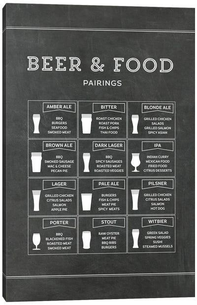 Beer And Food Pairings - Chalk Canvas Art Print