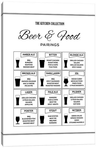 Beer And Food Pairings Canvas Art Print