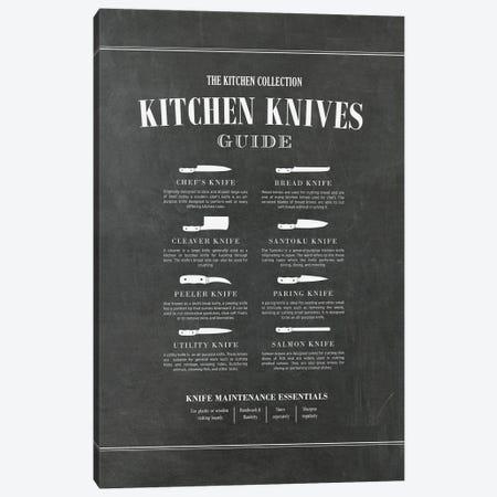 Kitchen Knives - Chalk Canvas Print #ACE99} by Alchera Design Posters Canvas Print