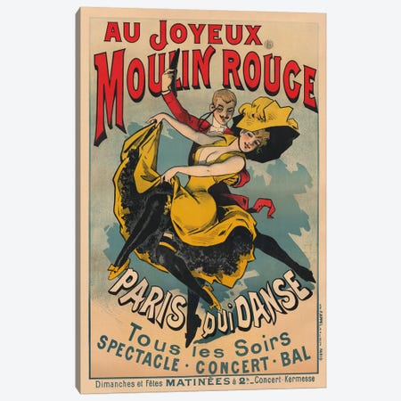 Au Joyeux Moulin Rouge, Paris Qui Danse Advertisement, 1900 Canvas Print #ACH1} by Alfred Choubrac Canvas Art Print