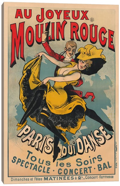 Au Joyeux Moulin Rouge, Paris Qui Danse Advertisement, 1900 Canvas Art Print