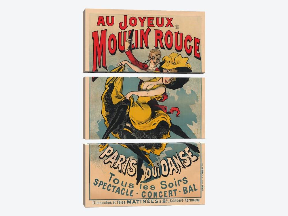 Au Joyeux Moulin Rouge, Paris Qui Danse Advertisement, 1900 by Alfred Choubrac 3-piece Canvas Art