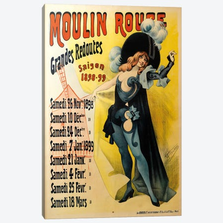 Moulin Rouge Grand Redoutes Advertisement, Saison 1898-1899 Canvas Print #ACH2} by Alfred Choubrac Canvas Art Print