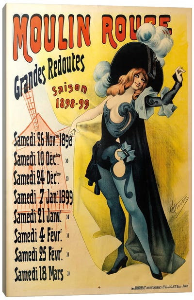 Moulin Rouge Grand Redoutes Advertisement, Saison 1898-1899 Canvas Art Print