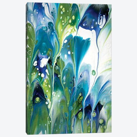 Green And Turquoise Floral I Canvas Print #ACK41} by Brigitte Ackland Canvas Art
