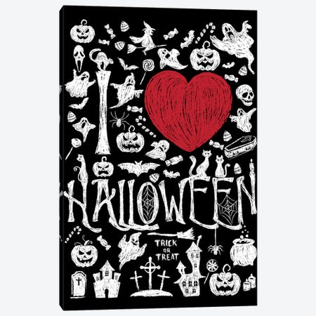 I Love Halloween Canvas Print #ACM111} by Antonio Camarena Canvas Art Print