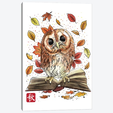 Owl Leaves And Books Canvas Print #ACM122} by Antonio Camarena Canvas Wall Art