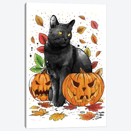 Cat Leaves And Pumpkins Canvas Print #ACM123} by Antonio Camarena Canvas Artwork
