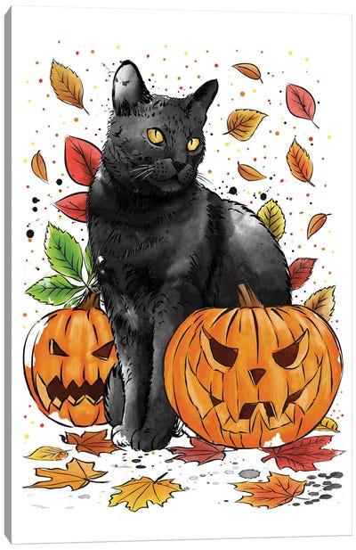 Cat Leaves And Pumpkins Canvas Art Print