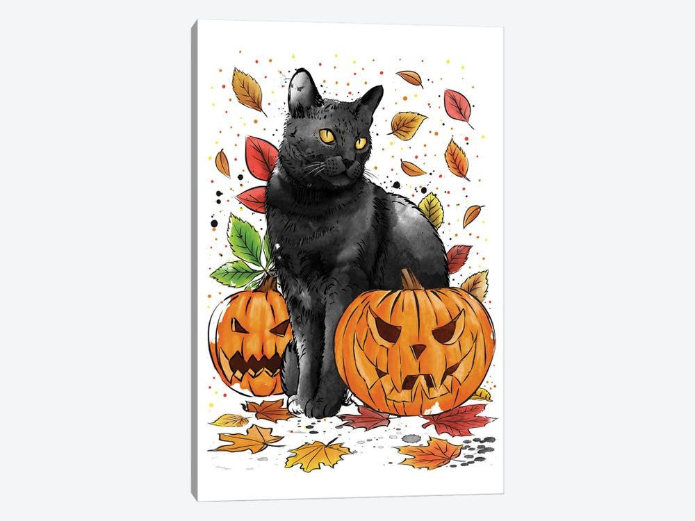 Cat Leaves And Pumpkins by Antonio Camarena 1-piece Canvas Wall Art