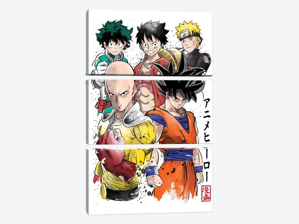 Anime Heroes by Antonio Camarena 3-piece Canvas Print