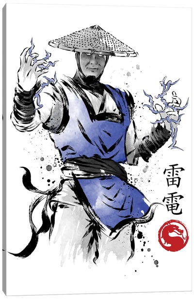 Thunder God Sumi-E Canvas Art Print