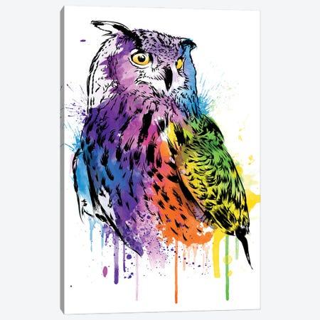 Owl Watercolor Canvas Print #ACM187} by Antonio Camarena Art Print