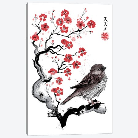 Little Sparrow Sumi-E Canvas Print #ACM23} by Antonio Camarena Canvas Art