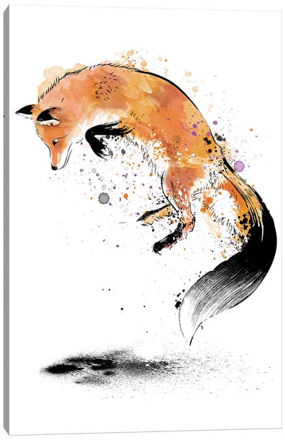 Red Fox Jumping Into Snow Canvas Art Print