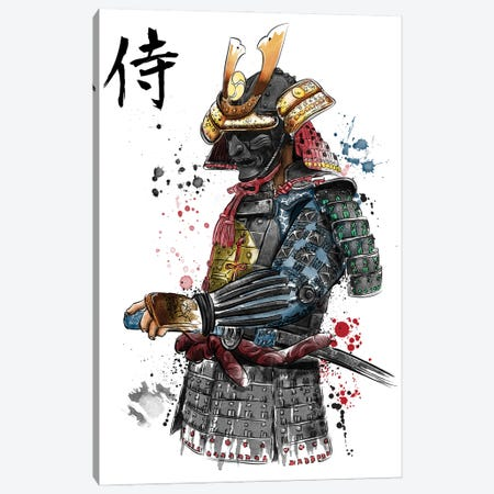 Samurai Watercolor Canvas Print #ACM38} by Antonio Camarena Canvas Art Print