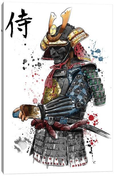 Samurai Watercolor Canvas Art Print