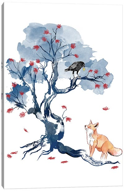 The Fox And The Crow Canvas Art Print