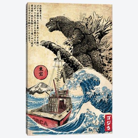Orca In Japan Woodblock Canvas Print #ACM61} by Antonio Camarena Canvas Wall Art