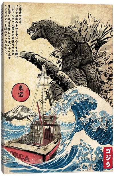 Orca In Japan Woodblock Canvas Art Print