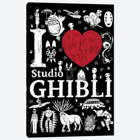 I Love Ghibli Canvas Print #ACM73} by Antonio Camarena Canvas Art Print