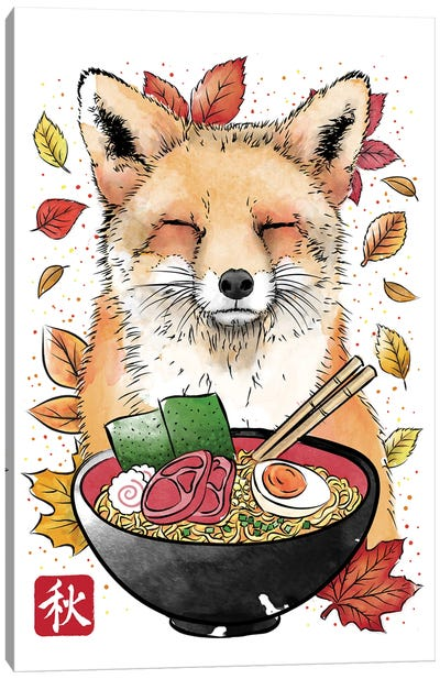 Fox, Leaves And Ramen Canvas Art Print