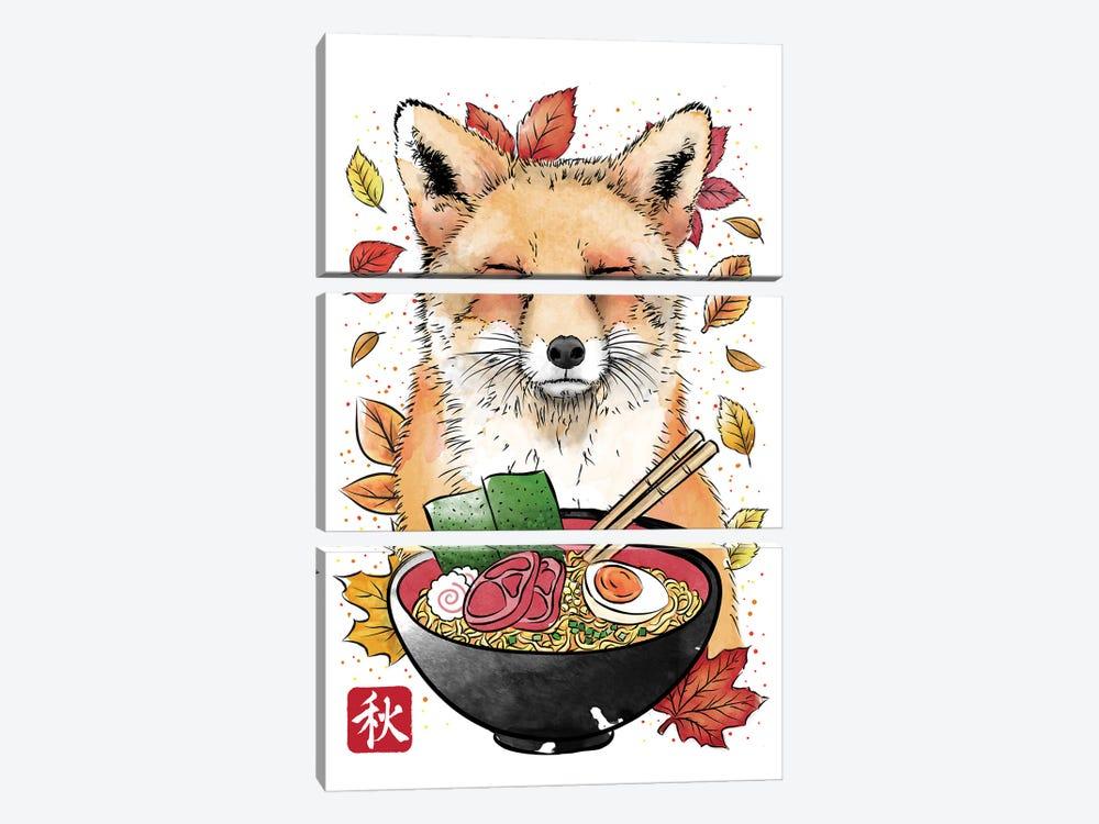 Fox, Leaves And Ramen by Antonio Camarena 3-piece Canvas Wall Art