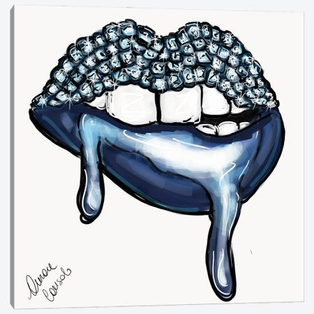 Dripping Blue Canvas Print #ACN44} by AtelierConsolo Canvas Artwork