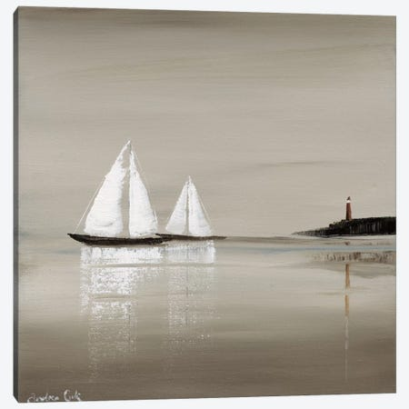Sailing Grey I Canvas Print #ACO1} by Andrea Cook Canvas Artwork